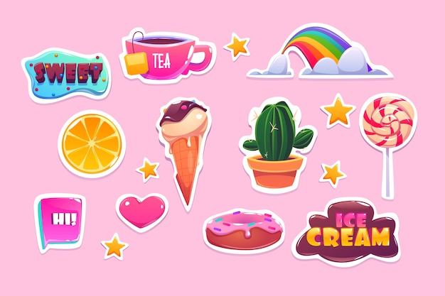 虹、ハート、スイーツ、星がセットになったかわいいステッカー。ドーナツ、アイスクリーム、オレンジ、引用符の漫画アイコン。ピンクの背景に分離された楽しいシンボル、サボテン、お茶、ロリポップのパッチ