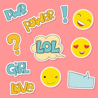 Cute stickers with faces and text