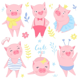 Cute stickers with funny pink pigs