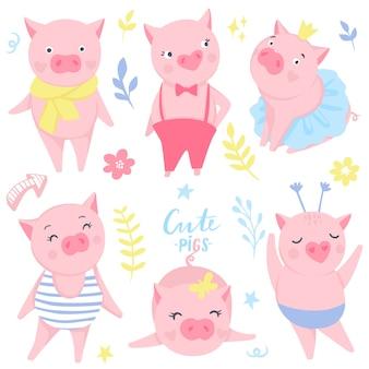 재미있는 핑크 돼지와 함께 귀여운 스티커