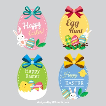 Cute stickers with happy easter bows