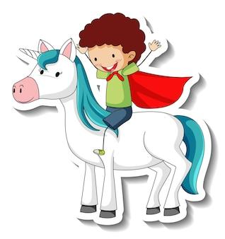 Simpatici adesivi con un ragazzo eroe che cavalca un personaggio dei cartoni animati di unicorno