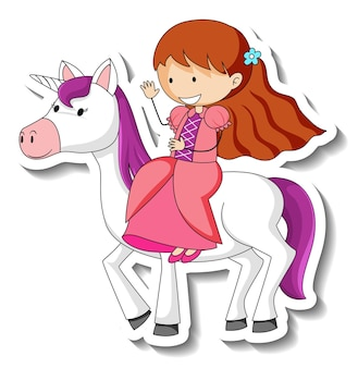 Cute stickers with a little princess riding a unicorn cartoon character