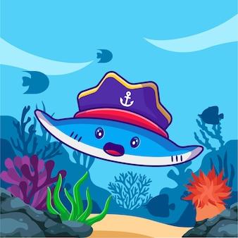 Милый скат плывет с пиратами шляпы
