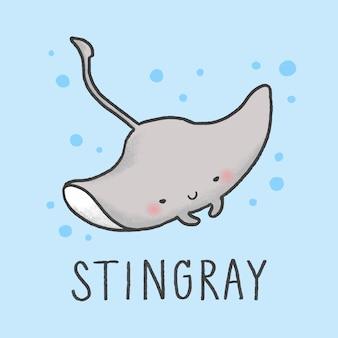 Cute stingray мультфильм рисованной стиль