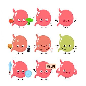 귀여운 위 세트. 건강하고 건강에 해로운 인간 장기. 현대적인 스타일 만화 캐릭터 일러스트 아이콘 디자인 벡터. 건강 식품, 영양, 위 개념