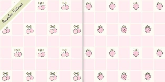 かわいいイチゴとさくらんぼのシームレスなパターンプレミアムベクトル