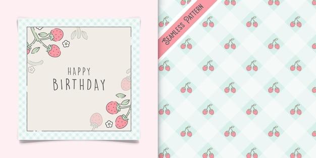 Cute strawberries birthday greeting card