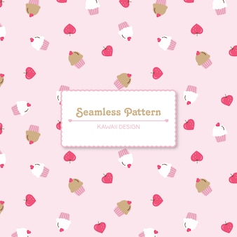 Cute strawberries and cupcakes seamless pattern