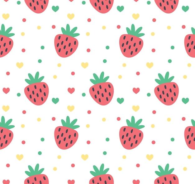 かわいいイチゴの愛のパターンとドットベクトルイラスト