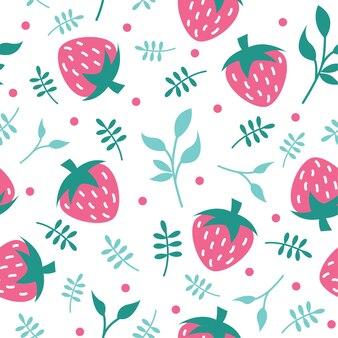 かわいいイチゴと葉のパターンベクトル