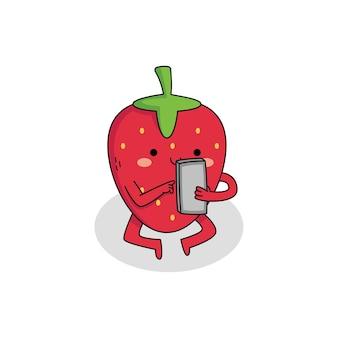 電話でかわいいイチゴの漫画のキャラクター