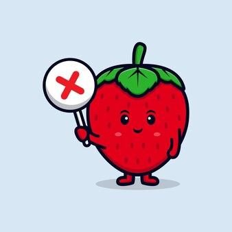 잘못된 기호 또는 교차 기호 플랫 아이콘 그림을 들고 귀여운 딸기 캐릭터