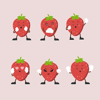 Cute strawberry character set in multiple expression