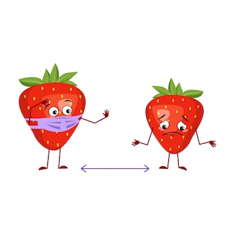 Cute strawberry character with face and mask keep distance, arms and legs. the funny or sad hero, red fruit and berry. vector flat illustration