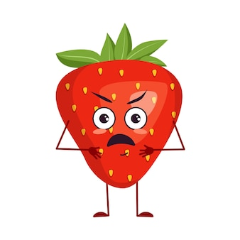 Cute strawberry characters with angry emotions, face, arms and legs. the funny or grumpy hero, red fruit and berry. vector flat illustration
