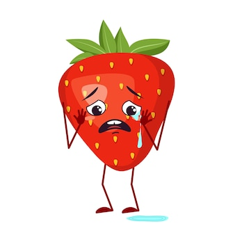 Cute strawberry characters with crying and tears emotions, face, arms and legs. the funny or sad hero, red fruit and berry. vector flat illustration
