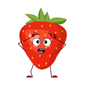 Cute strawberry characters with emotions in a panic grabs his head, face, arms and legs. the funny or sad hero, red fruit and berry. vector flat illustration