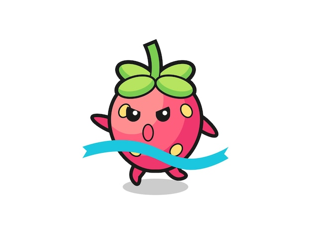 Cute strawberry illustration is reaching the finish , cute style design for t shirt, sticker, logo element