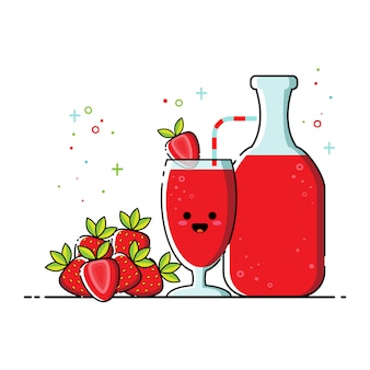 Cute strawberry juice flat icon set vector