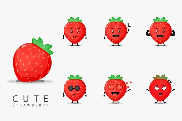 Cute strawberry mascot set