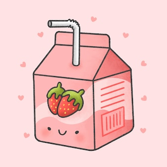 Cute strawberry milk box cartoon hand drawn style