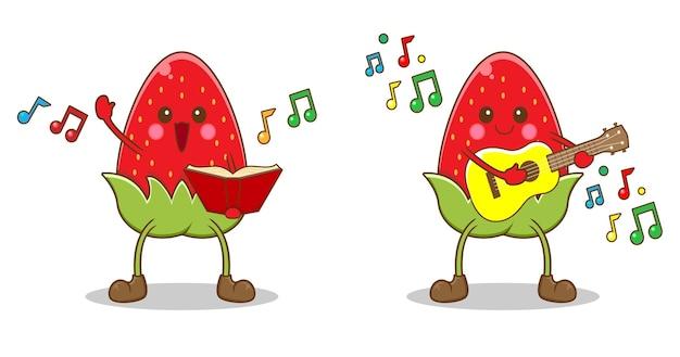 Милая клубника играет музыку