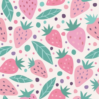 Cute strawberry and polka dots seamless pattern