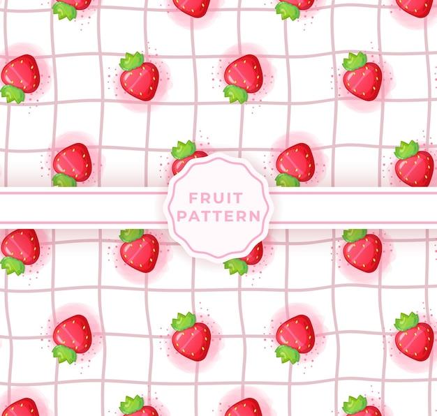 かわいいイチゴのシームレスなパターン。かわいい果物のパターン