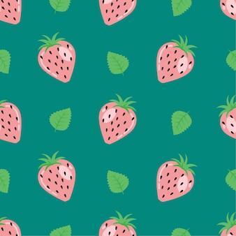 귀여운 딸기 여름 과일 원활한 패턴 배경