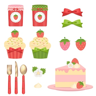 かわいいイチゴの甘い食べ物のクリップアート