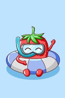 Cute strawberry swimming in summer cartoon illustration