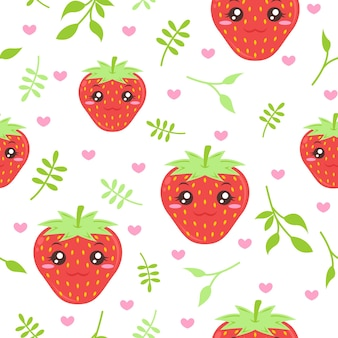 Cute strawberry with leaves pattern illustrations