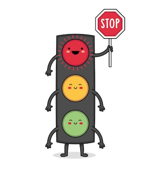 Cute street light cartoon character holding the stop