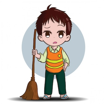 Cute street sweeper cartoon. job concept.
