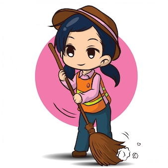 Cute street sweeper cartoon. job concept.