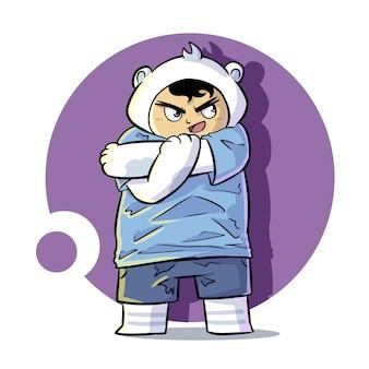 Cute stretching bear mascot illustration