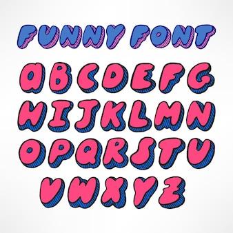 Симпатичный полосатый розово-синий рисованный шрифт