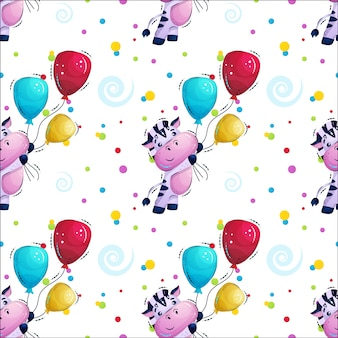 Cute striped zebra flies with balloons pattern