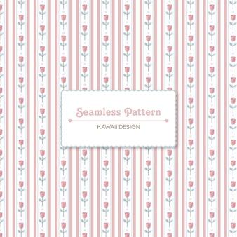 귀여운 줄무늬와 장미 원활한 패턴