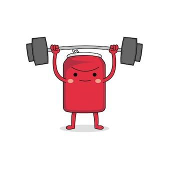 かわいい強い缶漫画のキャラクターの重量挙げ