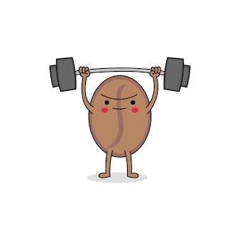 かわいい強いコーヒー豆の漫画のキャラクターの重量挙げ