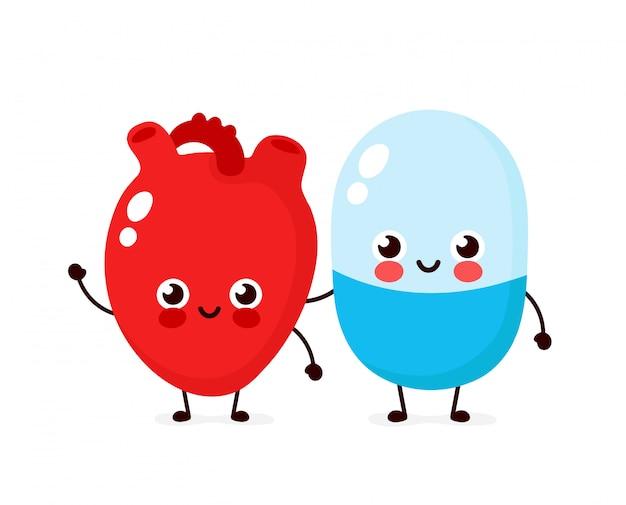 Симпатичные сильные счастливые улыбающиеся таблетки и сердца характер. плоский мультфильм иллюстрации значок. изолированные на белом. таблетки персонажа