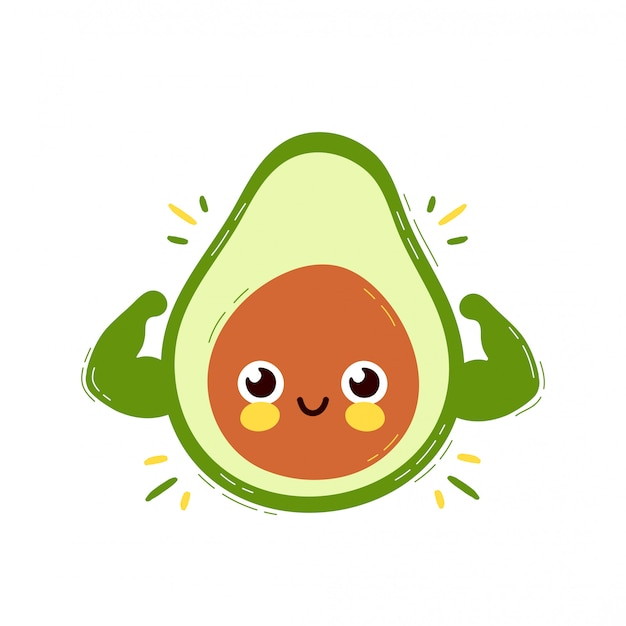 Cute strong smiling happy avocado shows muscle biceps