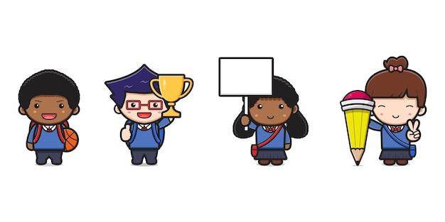 귀여운 학생 다시 학교 만화 아이콘 벡터 일러스트 레이 션. 흰색 평면 만화 스타일에 고립 된 디자인입니다.