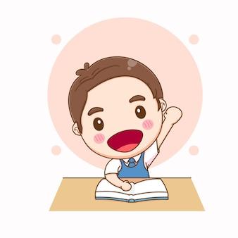 귀여운 학생 만화 일러스트 레이션
