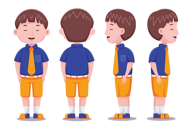 Cute student character in flat design style