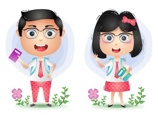 A cute student couple character cartoon vector