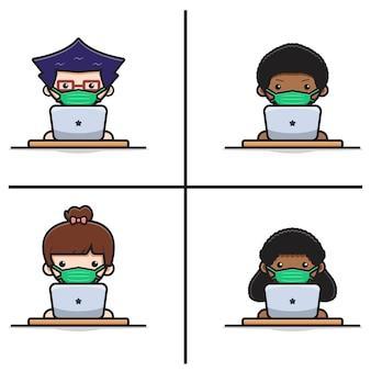 귀여운 학생은 노트북 만화 삽화로 온라인 학습 학습 과정 홈스쿨을 합니다. 흰색 평면 만화 스타일에 고립 된 디자인입니다.