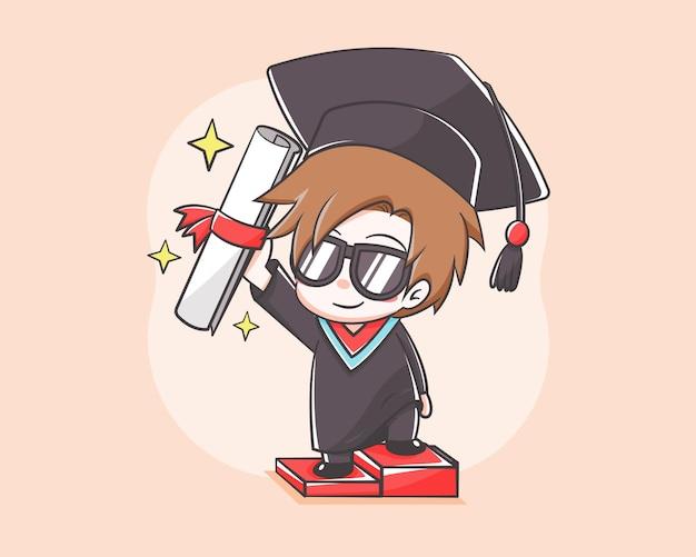 Cute student on graduation day cartoon illustration